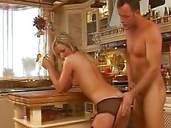 Anal in the kitchen with a beautiful blonde