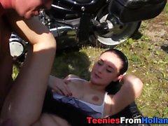 Gullig biker tonårs spunked