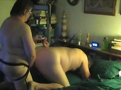 wife fucks husband with strapon