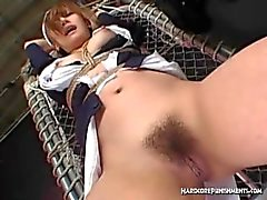Multiple hitatchi magic wand orgasms for restrained Asian maid