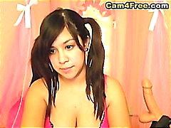 Asia babe Mostra Il Suo Dildo in di HD
