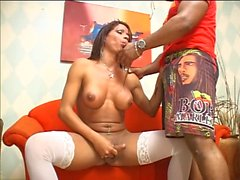 Sexy Spanish shemale with nice tits gets mouth, ass fucked