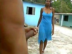 Busty Ebony Hard Blowjob i backyarden