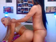 Two transgender girls bareback fucking