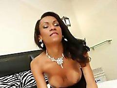Busty ebony transsexual Cintia Matarazzo solo plays