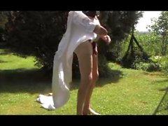 girl transvestite garden outdoors anal fisting dildo sextoy 214