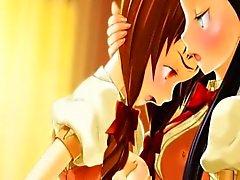 Anime lesbians grandes titted em 3D beijá