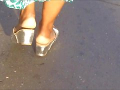 Candid Ebony Mature In Wedge Sandals