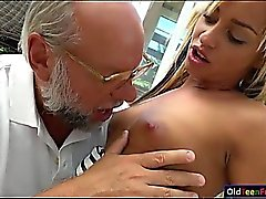 Angelina Julie fingered by old perv before sucking his cock