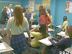 Schoolgirls devour their teachers plump sausage