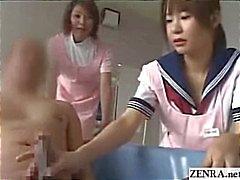 Cuidadores de enfermagem japonesas dar geezer um handjob com gozada