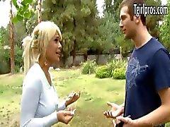 Sexy blonde tgirl Kimbella invites a guy