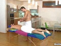 Homosexual guy is given a spooning during massage
