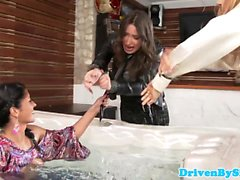Clothed rich lesbos in WAM jacuzzi foursome