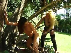 Submissive boy has a sultry blonde shemale banging his ass from behind