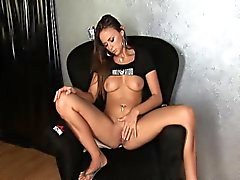 Brunette sofa squirt