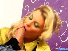 Euro gloryhole babe throats bukkake strapon