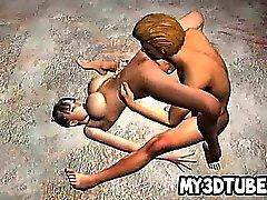 Vollbusige 3D Babe immer ihre Muschi lecken gefickt
