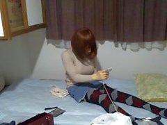 máscara feminina, tocando seu pau