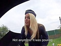 Stewardess Christen Courtney stranded and fucked in public
