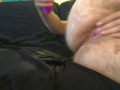 Playing with my girlfriends dildo, I cum everywhere