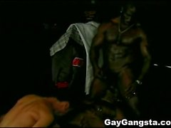 Interracial 3Some with Darksome Homosexual Gangsta