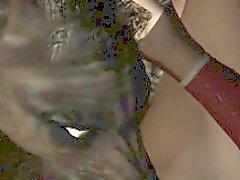 3D Brunette geleckt und gefickt von einem Werwolf