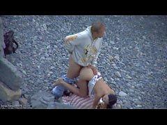 Sexo en la cámara escondida en la playa