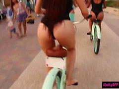 motociclisti Spiaggia dare pippa e il scopata da una tizio fortunato