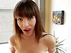 Fetish brunette throats cock pov