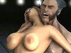 Bir busty 3D çizgi film bebeğim Wolverine'e edenler tarafından becerdin elde