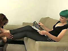 Lesbian Interracial foot worship session