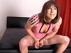 Crossdresser slut wanks her big cock as hot femdom Strapon Jane fucks her tight ass