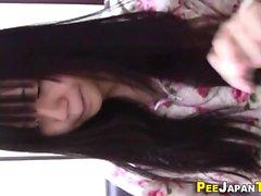 Asian teen pees in bottle