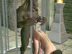 Caldo del brunette 3D cartoni animati di bimbo scopare da un lupo mannaro