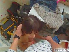Jävla Glasses - Teeny knullade på en balkong