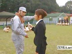 Strange Japanese BDSM slaves outdoor group blowjobs