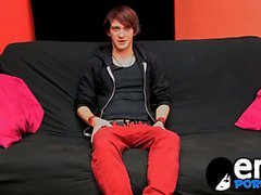 Twenty year old stunner Andy Kay jerks out until he jizzes