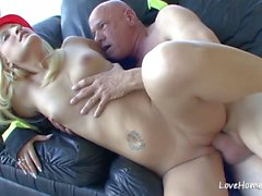 Hot firefighter beauty is pleasing her older lad