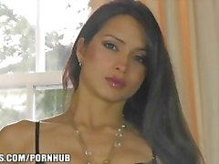 Gorgeous French brunette shows off her lingerie & masturbates