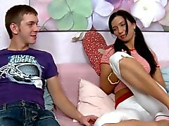 Angel is delighting fellow with blowjob and vigorous riding