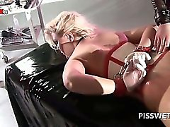 BDSM 3some with sex slave getting cunt tortured for piss