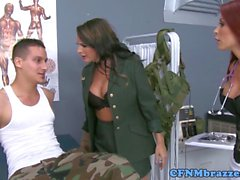 Army CFNM femdoms drilling soldiers private