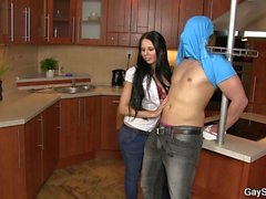 Hot gay blowjob and cock riding in the kitchen