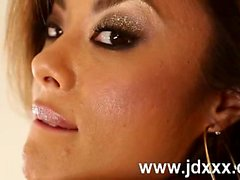 Kaylani Lei teasing partially nude in lingerie