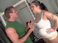 fucks hot chubby brunette in gym