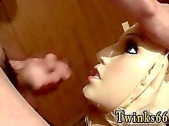 Emo гей подростковой пару школы Кукла поссать