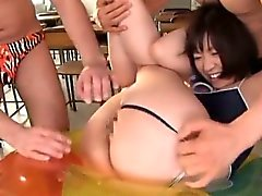 Busty schoolgirl nailed in raw threesome