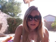 Sweet blonde babe outdoor solo