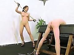 Caning by hot naked femdo - pussy on dom-match